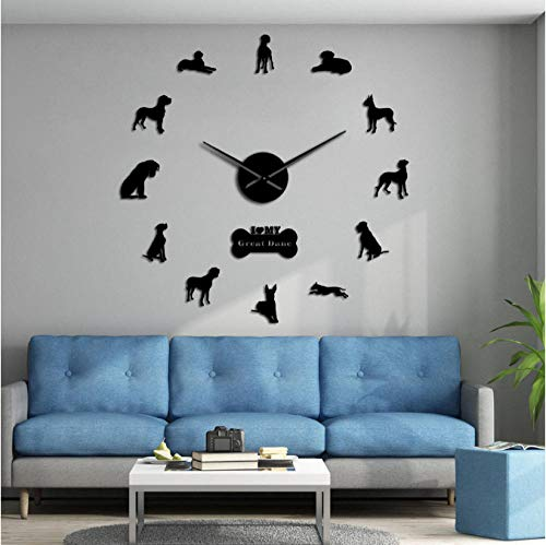 mazhant Chien Allemand Race Mur Art Décor À La Maison Great Dane Bricolage Grande 3D Horloge Murale Salon Décoratif Quiet Wall Watch 47Inch