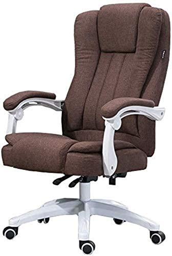 HOLPPO-Desk Silla for Juegos Silla reclinada Que compite con 74 cm de Altura del Asiento Trasero de Grande y la inclinación de Oficina Silla de la Tela de Lino sillas de Escritorio (Color : Brown)