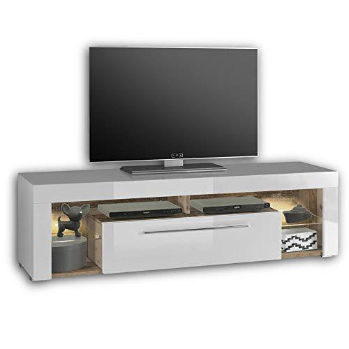 GOAL TV-Lowboard in Old Style Optik, Weiß mit LED-Beleuchtung - hochwertiges TV-Board mit viel Stauraum für Ihr Wohnzimmer - 153 x 44 x 44 cm (B/H/T)