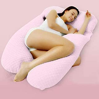 LMAYMM Maternity Body Pillow-Comfortable U-Shaped Support Pillow, Detachable Pillow/Relieve Neck Pain, Remove The Cover and Wash,Pink,XS