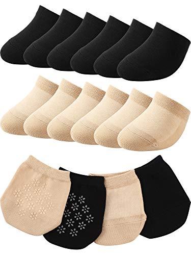 SATINIOR 12 Paar Zehenschutzsocken TZehenfutter Halb Socks Nahtlose Rutschfeste Zehenhalbsocken (Schwarz, Hautfarbe)