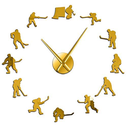 xinxin Reloj de Pared Hockey Deporte Colgante de Pared DIY Reloj de Pared Grande Jugadores de Hockey sobre Hielo Silueta Espejo Pegatinas Decoración del hogar Reloj de Pared Regalo para Hombre
