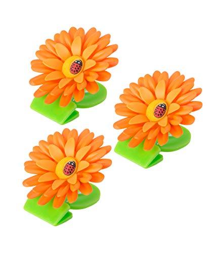 VIGAR Flower Power Magnet mit Klammern für Kühlschrank, 3 Stück, Orange, 8x8x2,5 cm