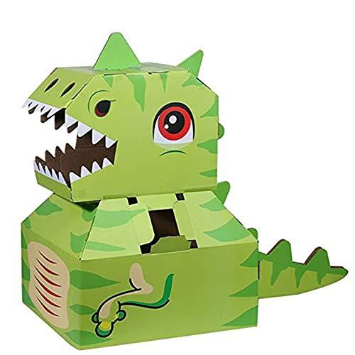 Dinosaurierkarton tragbar aus Papier DIY Modell Kinderspielzeug, Kinder handgefertigte Tiermontage Cosplay Performance Kleidung F