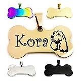 Targhetta per cani con incisione in acciaio inox, personalizzabile, per animali domestici, per cani, ID tag indirizzo, targhetta per animali (oro rosa)