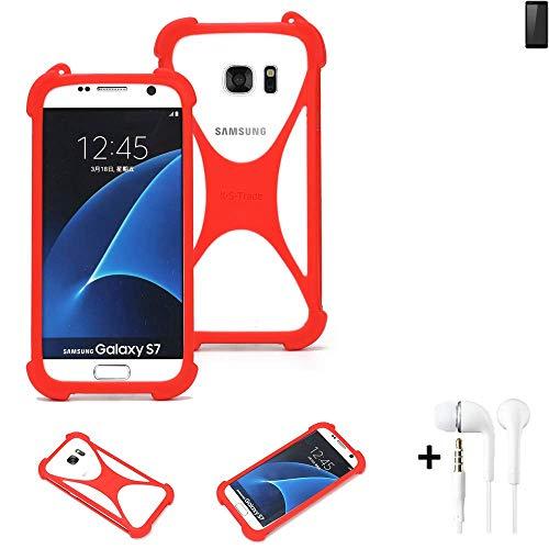 K-S-Trade® Handyhülle + Kopfhörer Für Ruggear RG850 Schutzhülle Bumper Silikon Schutz Hülle Cover Case Silikoncase Silikonbumper TPU Softcase Smartphone, Rot (1x),