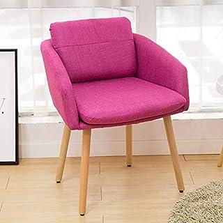 Chairlxy Sala Sofá Silla, sillas sillas tapizadas de Ocio sillas de Madera con Patas de Madera para Cocina, Comedor, Dormitorio, Living Comedor,Rosado