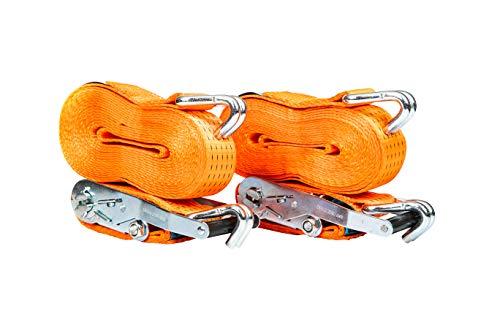 PKD 720 2 pezzi 5000 kg 8 m cinghie con cricchetto 2 pezzi con gancio cinghia di ancoraggio 50 mm 5000 daN 5t