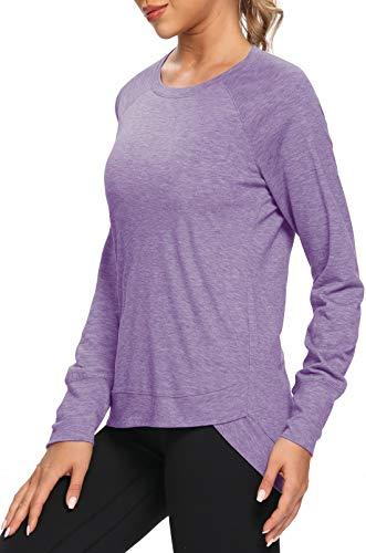 OJONIK Womens Long Sleeve Workout Tops Sports Running Loose Fit Yoga Gym Workout Shirt (Lavender, L)