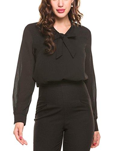ACEVOG Damen Classics Strandbluse Tunika Chiffon T-Shirt Basic Schluppenbluses Bluse Langarmshirt Einfarbig L L, schwarz