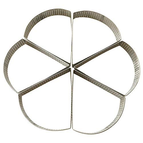 Molde de anillo triangular para tartas, anillo de tarta perforado sin costura de acero inoxidable, anillo de torre de orificio, molde de mini torre de frutas francés en forma de abanico con