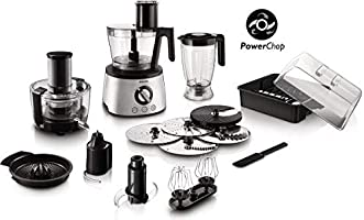 Philips Avance Collection Multi- function Food Processor HR7778/01, 1300W, Compact 4in1 setup, 3.4L bowl with Stainless...