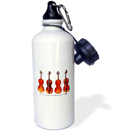 3dRose Stradivarius Violins-Sports Botella de agua, 20 oz (wb_62210_1), aluminio, blanco