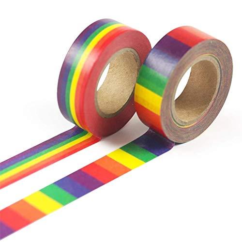 Washi Tape Set Weihnachten 2 Stück,Hothap Rainbow Masking Tape Bürobedarf Schulbriefpapier Klebeband 15mm X 10M