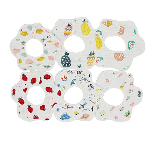 Muslin Bibs,MERLINAE Baby Bandana Drool Bibs 360 Bibs for Boys Girls Newborn Infant for Drooling and Teething,100% Organic Cotton and Super Absorbent Hypoallergenic Pullover Baby Bibs (Flower-New)