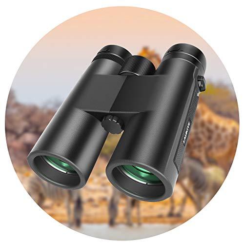LAUKIYE 12X42 Binoculars for Adults, HD Professional Binoculars for Hunting, 18mm Large Eyepiece Binoculars for Bird Watching, Compact Binoculars for Outdoor Sports with Super Bright BAK4 FMC Lens