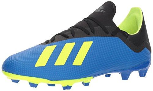 adidas Herren (Fester Untergrund) X 18.3 Firm Ground, Fußball blau/solargelb/schwarz, 45 EU