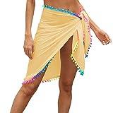 XIXIMAON Pareo Mare Donna Wrap Sarong da Spiaggia Bikini Cover Up Beach Copricostume Sexy Tinta Unita Gonne Avvolgenti Costume da Bagno per Piscina Vacanza (Giallo, Taglia Unica)