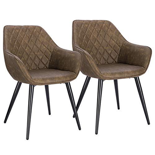 WOLTU Esszimmerstühle BH251dbr-2 2er Set Küchenstühle Wohnzimmerstuhl Polsterstuhl Design Stuhl mit Armlehne Kunstleder Gestell aus Stahl Dunkelbraun