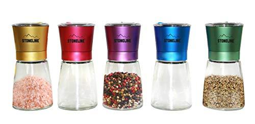 STONELINE® Salz- / Pfeffermühlen-Set, 5-TLG, Gewürzmühlen, Bunte Deckel, mit verstellbarem Keramikmahlwerk