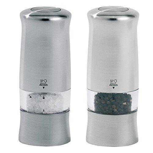 Peugeot Zeli Elektrisches Salz / Pfeffermühlen 2er Set, Salzmühle Pfeffer Mühle ABS Edelstahl-Optik 14 cm