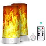 LED Flame Lights, Battery Operated Flameless Candles, Flickering Fake Fire Lamps with Remote Control and Timer, Waterproof Outdoor Flame Lights with Gravity Sensing for Fireplace/Party/Garden/Bar