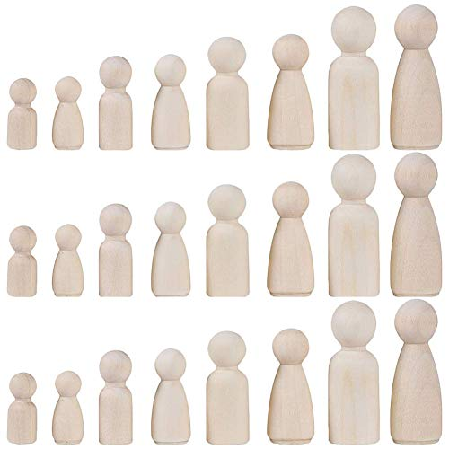 INTVN holzfiguren zum bemalen, 24 Holzfiguren Spielfiguren Basteln Holz Puppen Krippenfiguren Spielfiguren Mann Frau Junge Mädchen Kinder