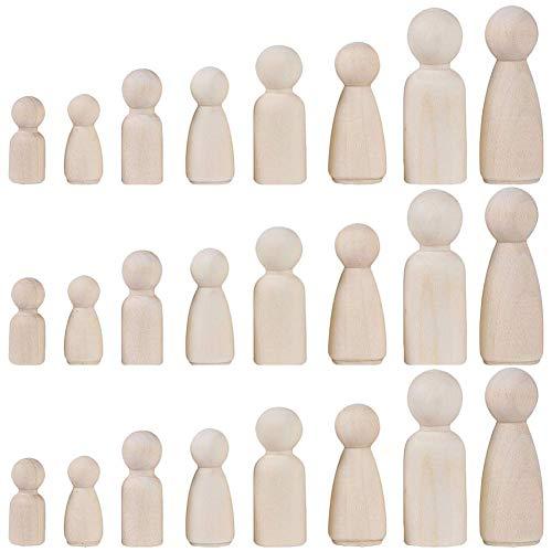 Muñeca de madera Peg, INTVN Inacabado Personas de Madera Cuerpos en Color Natural Simples Angel Dolls para DIY Craft Pack de 24