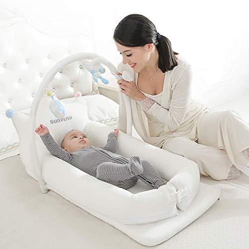 SUNVENO Beistellbetten/Babybetten - Babytrage, Kinderbett, Laufstall, Wickelstation, Wiege für Babys 0-24 Monate - Leichtgewicht, Plüsch, Allergiker - Inklusive Tragetasche