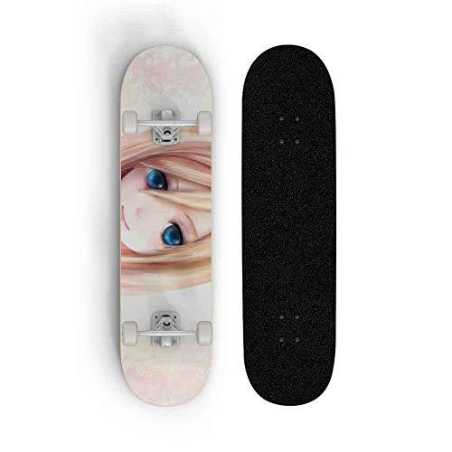 Kssmice Skateboard Anime Ataque de patineta de cuatro ruedas en Titán: Mikasa Ackerman Maple Doble Tilt Skateboard Principiante Profesional Monopatín Hombre y femenino Tablero de baile Cepillado Scoot