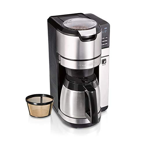 Hamilton Beach Programmable Coffee Maker with Built-In Auto-Rinsing Beans Grinder and Thermal Carafe, 10 Cups, Stainless Steel (45501)
