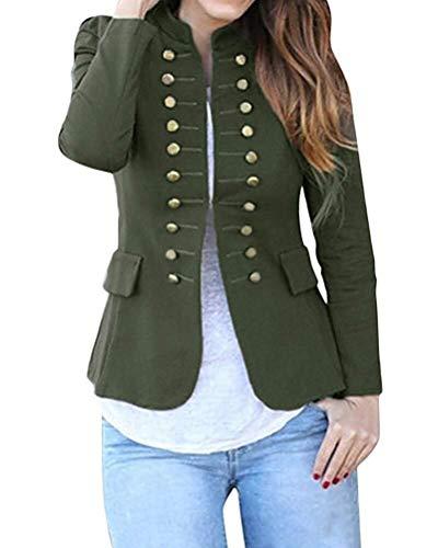 BOLAWOO-77 Blazer de Mujer de Chaquetas Alto Informal Cuello Traje Mode De Marca de Oficina de Negocios Abrigo Elegante con botón Frente Abrigo Militar Blazer Largo Blazer Ajustado