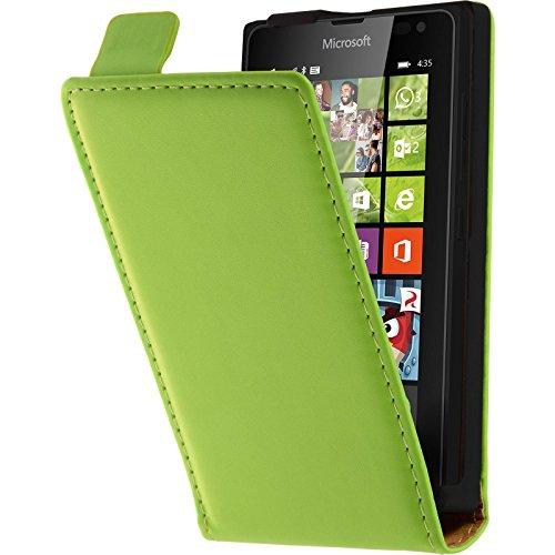 PhoneNatic Kunst-Lederhülle kompatibel mit Microsoft Lumia 435 - Flip-Hülle grün + 2 Schutzfolien