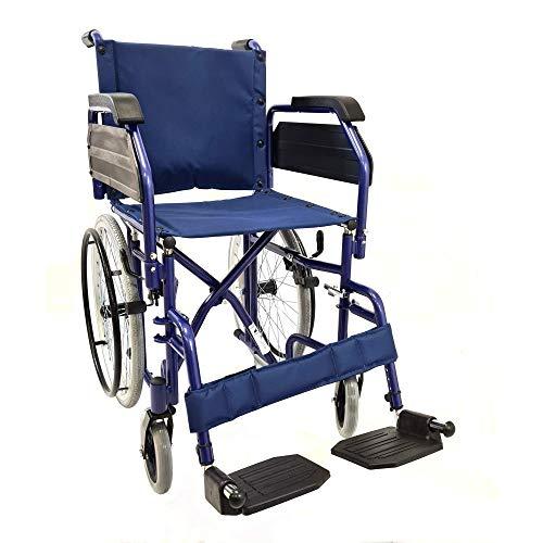 Sedia a Rotelle PPS Carrozzina Disabili Anziani Pieghevole-Passaggi Stretti In Ascensore- con ferma Polpacci e Pedane Regolabili- Sedia a rotelle Ingombro Ridotto-street slim 52cm
