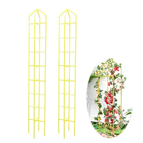 hourflik Plant Cages and Supports, Tomato Cages and Stakes Cucumbers Trellis for Climbing Plants Garden Vegetables, Fruits, Flowers, Vine (2 Pcs) (Yellow)