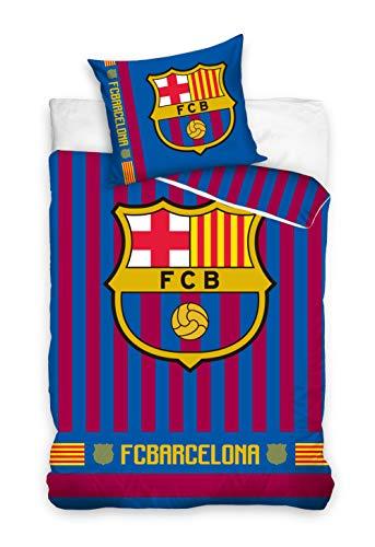 DHestia F.C. Barcelona Juego de Cama 100% Algodón Funda Nórdica + Funda Cojín Barça. FCB182013