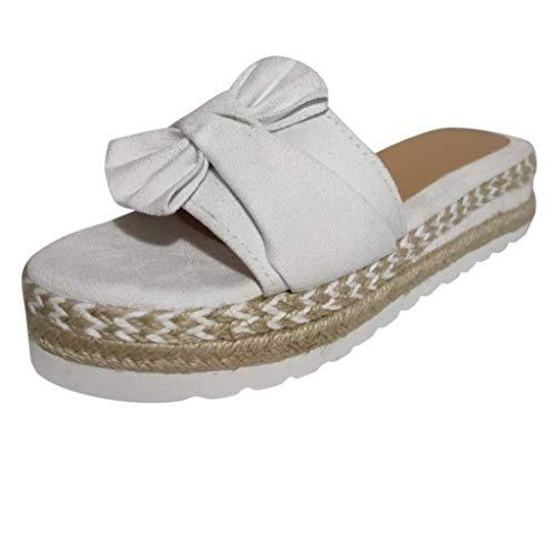 Zapatilla de Plataforma con cuña para Mujer, Sandalias de Verano con Nudo en la Parte Delantera de la Playa, Sandalias Bohemia Moda Casual Ocio de Ancho Ancho