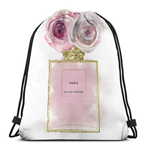 Nonebrand - Botella de perfume de oro rosa para gimnasio, impermeable, con cordón, mochila deportiva, gimnasio, danza, mochila de viaje