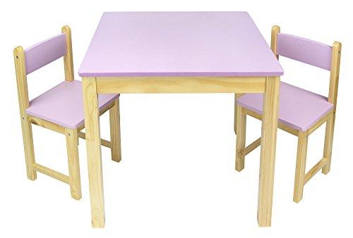 Merkell Kindertisch und 2 Stühle aus Holz - Rosa Tisch Kinderstuhl für Kinder, Kindersitzgruppe, Tischgarnitur, Dim: 54,5 cm (H)