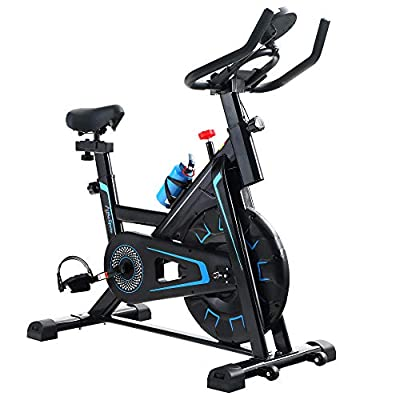 Alpha Sports Indoor Cycling Exercise Bike Stationary?All-inclusive Flywheel Bike for Home Cardio Workout with LCD Monitor, Tablet Holder, Adjustable Seat and Handlebar