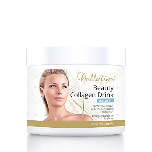 CELLUFINE Beauty Collagen Drink natural 180 g I Beauty Kollagen Pulver für 30 Tage I glutenfrei I allergenfrei I mit VERISOL Collagen Peptiden & CERAMOSIDES™ Ceramiden & HyaVita Hyaluronsäure