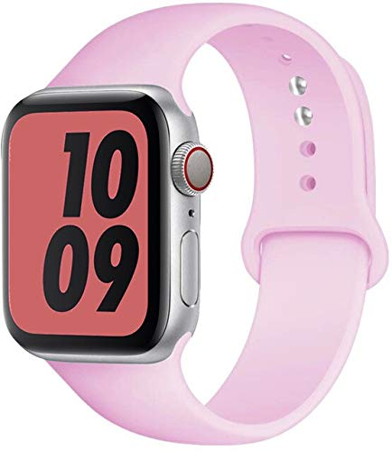 MAIDEN Correa de silicona compatible con Apple Watch Band de 44 mm, 40 mm, 38 mm, 42 mm, correa de goma, pulsera deportiva compatible con Iwatch Serie 3, 4, 5, SE 6