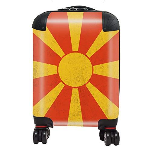Vlag Israel / Macedonië vlag Zuid-Europa koffer kinderen cabine met TSA Lock 4 draaibare wielen bagage tas 46 cm 29 liter