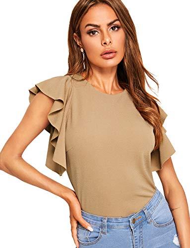 ROMWE Women's Stretchy Flutter Sleeve Slim Solid Elegant Blouse Top