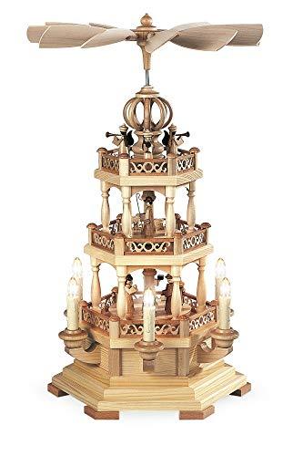 Müller German christmas pyramid Christmas story with angels, 2-tier, height 49 cm / 19 inch, electrical illuminated and driven (120V, 50Hz), natural, original Erzgebirge by Mueller Seiffen