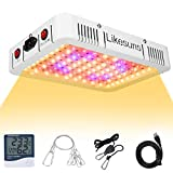 Likesuns 1000W LED Grow Light for Indoor Plants - Full Spectrum Plant Growing Lamp for Seedling, Daisy Chain Function, High Power, Large Cooling Fan, Double Switch Veg and Bloom, with Thermometer