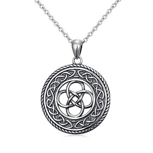 925 Sterling Silver Jewelry Oxidized Good Luck Irish Knot Celtic Medallion Round Pendant Necklace, 20 inch (celtic dara knot necklace)
