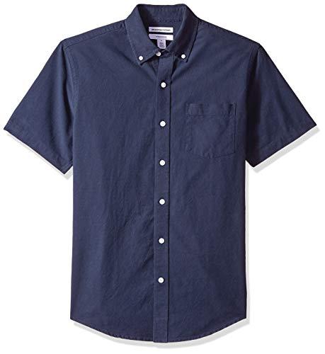 Amazon Essentials Herren Oxford-Hemd, schmale Passform, Kurzarm, mit Brusttasche, Blau (Navy Nav), XL