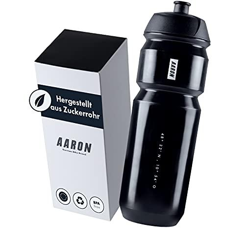 AARON ECO - Borraccia in canna da zucchero sostenibile, 750 ml, leggera e a prova di perdite, pratica borraccia senza BPA, per sport, fitness, escursionismo, attività all'aperto, colore: nero