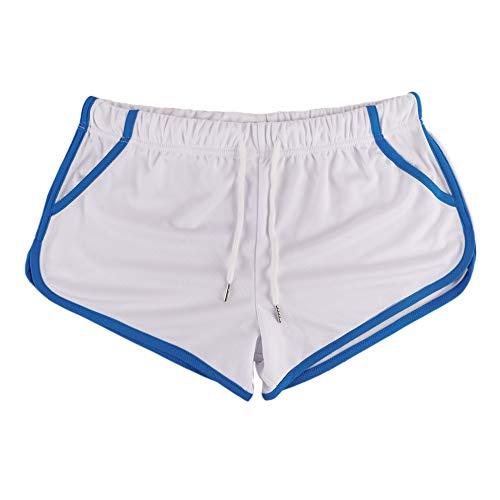 Alivebody Herren Gittergewebe Sportlich Kurze Hose zum Laufen Trainieren Schwimmen Fitness Hosen Color White Size M
